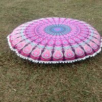Indian Mandala Round Seating Pom Pom Handmade 100% Cotton Cushion Cover