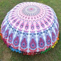 Indian Peacock Mandala Round Seating Pom Pom Handmade Cushion Cover