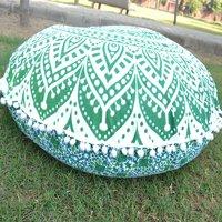 Cotton Ottoman Ethnic Mandala Round Floor Cushion Cover