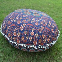 Indian Cotton Ottoman Handmade Mandala Peacock Round Floor Cushion Cover