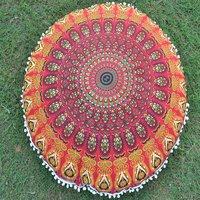 Cotton Ottoman Handmade Mandala Peacock Round Floor Cushion Cover