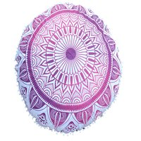 Indian Home Textile Round Deepak Ombre Mandala Tapestry Cushion Cover