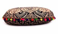 Mandala Round Floor Pillow Cover Ethnic Hand Printed Cushion Cover