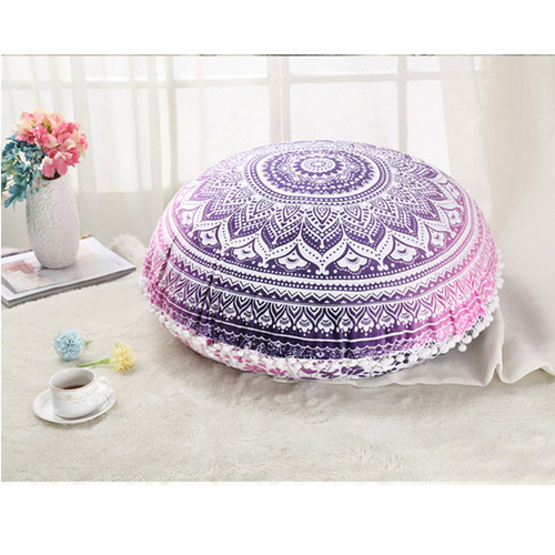 Ombre Mandala Violet Color Round Tapestry Cushion Cover