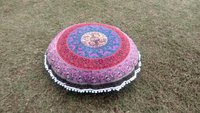 Indian Guru Mandala Multi Color Round Pom Pom Handmade Cushion Cover