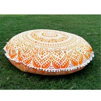 Indiana Cotton Fabric Home Textile Item Ombre Mandala Round Cushion Cover