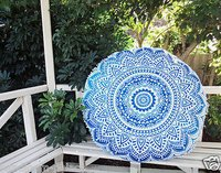 Round Floor Pillow Cover Ethnic Handmade Hand Printed Cushion Cover