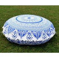 Cotton Indian Mandala Round Pom Pom with Tassels Decorative Cushion Cover