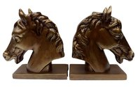 Metal Horse Head Bookend Pair Figurine