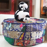 Banjara Embroidery Pouf Ottoman Cotton Indian Bench Covers