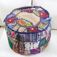 Banjara Embroidery Pouf Ottoman Cotton Indian Bench Covers