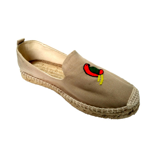 Ladies Beige Color Embroidery Loafer Shoes