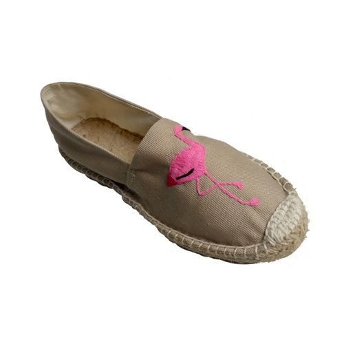 Ladies Embroidery Canvas Loafer Shoes