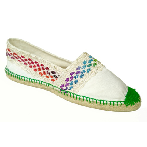 Ladies White Embroidery Loafer Shoes
