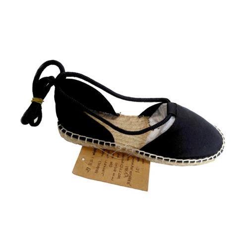 Ladies Black Canvas Sandals