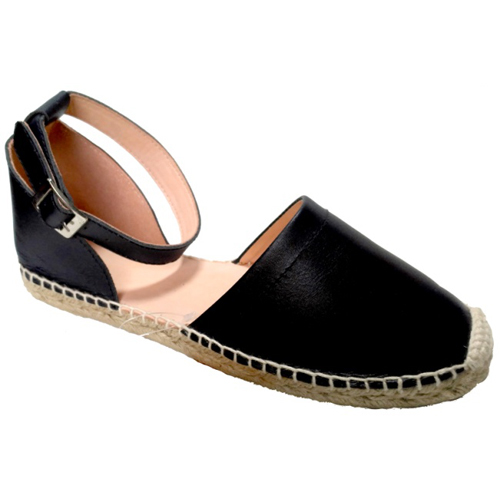 Ladies Black Nappa Leather Sandals