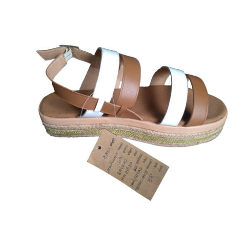 Ladies Multi Belt Flat Leather Sandals
