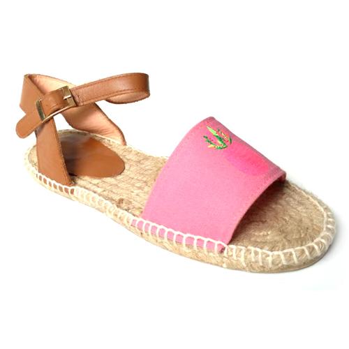 Ladies Pink Flat Sandals