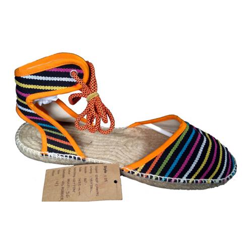 Ladies Multicolour Strip Canvas Sandals