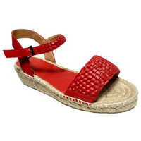 Ladies Red Leather Jute Sandals