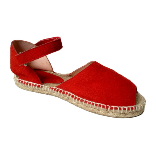 Ladies Red Split Leather Sandals