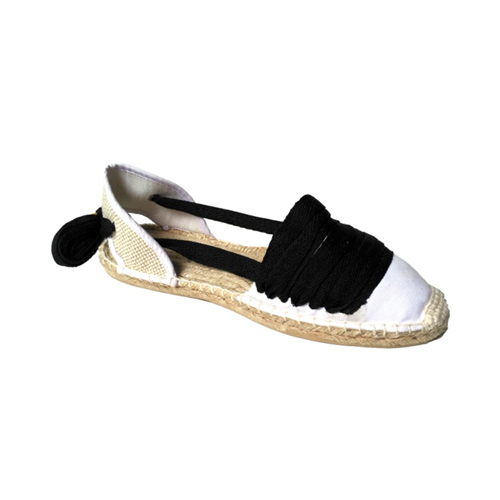 Ladies White Sandals with Black Laces