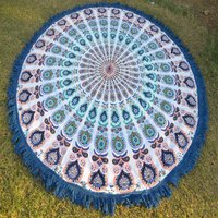 Indian Cotton Peacock Print Mandala Beach Towel Yoga Mat Roundie