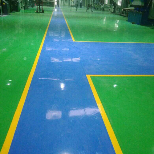 Epoxy Blue Strip Paint Flooring Services