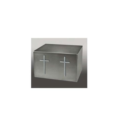 Titan I Satin Silver Slimline Crosses Companion Urn