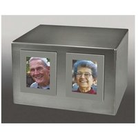 Two Large Silver Rectangle Frames Urn