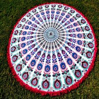 Multicolor Bright Indian Peacock Mandala Hand Printed Roundie Tapestry