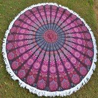 Bohemian Beach Towel with Tassels Roundie Round Tapestry Roundie