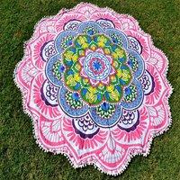 Lotus Mandala Tricolor Yoga Mat Chic Bohemian Roundie