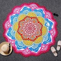 Indian Multi Color Cotton Fabric Microfiber Beach Towel Roundie