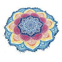 Hand Printed Handmade Beach Towel Tassels Cotton Fabric Tapestry Roundie