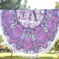 Indian Elephant Mandala Tapestry Violet Color 100% Cotton  Roundie