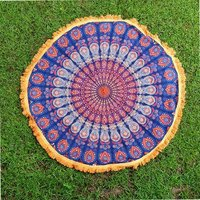 Indian 100% Cotton Peacock Mandala Round Tapestry Roundie