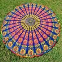 Multi-Color Indian Cotton Peacock Bohemian Hippie Home Textile Roundie