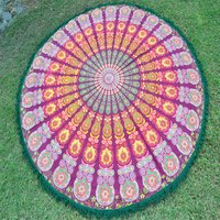 Indian Cotton Fabric Peacock Mandala Hippie Yoga Mat Bohemian Roundie