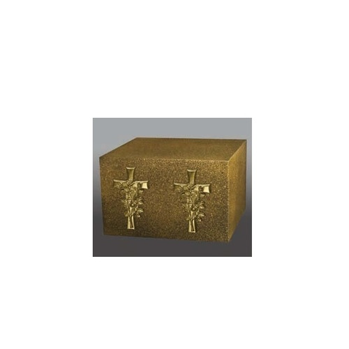 Venetian I Two Bright Gold Cross & Roses Companion Urn