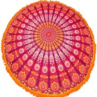 Indian Tapeciria Peacock Bohemian Mandala Round Tapestry Roundie