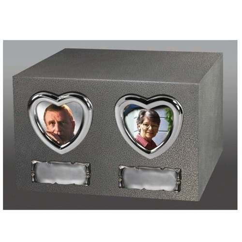 Two Large Silver Hearts Urn with Nameplates