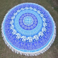 Sun Elephant Camel Print Indian Cotton Beach Tassels Hippie Roundie