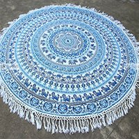 Bohemian Hippie Yoga Mat Indian 100% Cotton Mandala Print Roundie