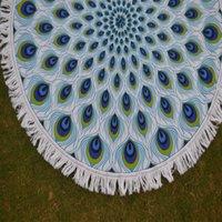 Peacock Feather Print Mandala Hippie Roundie Yoga Mat Towel Tapestry