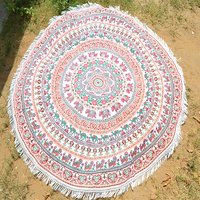 Indian Cotton Fabric Animal Bohemian Hippie Round Tapestry Roundie