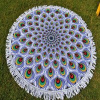 Peacock Feather Pattern Indian Mandala Roundie
