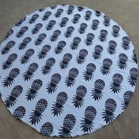 Indian Graffiti Pineapple Beach Towels Cotton Fabric with Tassels Roundie