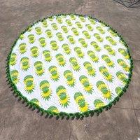 Mandala Hand Printed Roundie Graffiti Pineapple Pattern round tapestry