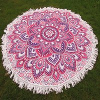 Indian Mandala Flower Tara Pattern Hand Printed Roundie
